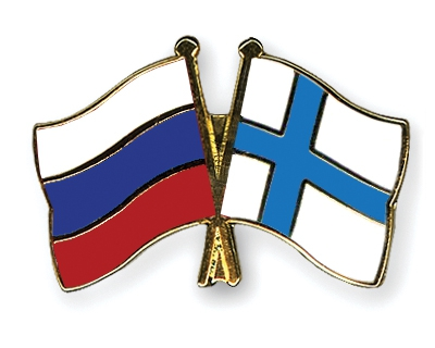 Pin with Russian and Finnish flags.